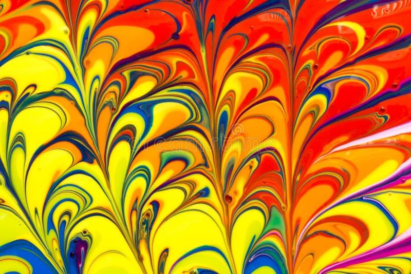 De abstracte multicolored vloeibare verf wervelt achtergrond stock afbeeldingen