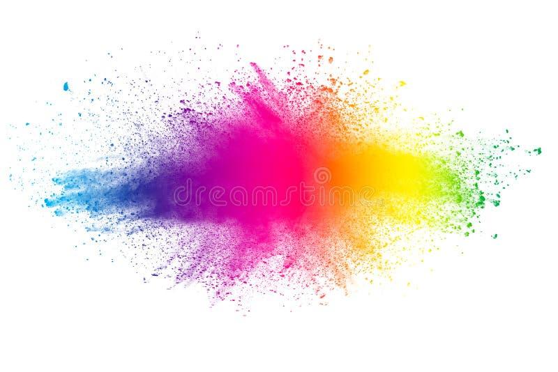 De abstracte multiexplosie van het kleurenpoeder op witte achtergrond stock afbeelding