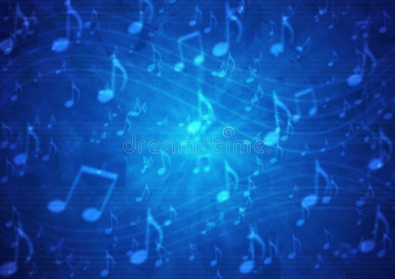 De abstracte Muziek neemt nota van Personeel op Onscherpe Grungy Donkerblauwe Achtergrond vector illustratie