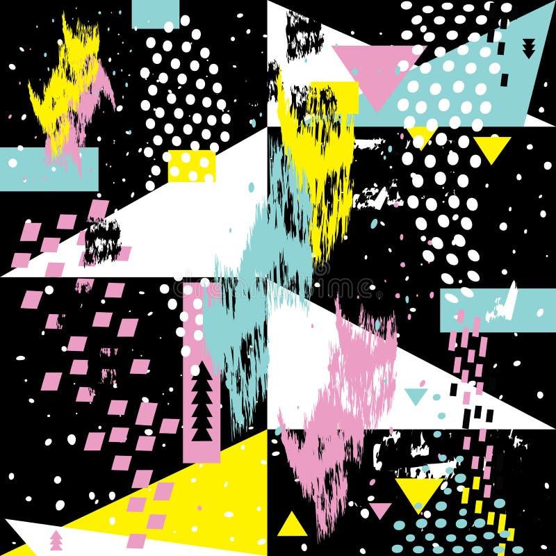 De abstracte naadloze chaotische kaarten van de elementenmemphis van patroonwiths geometrische royalty-vrije illustratie