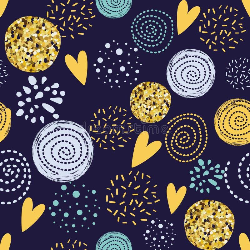 De abstracte naadloze elementen van de patroon Gele gouden cirkel op donkere Leuke achtergrond schitteren decoratieve behangvecto royalty-vrije illustratie
