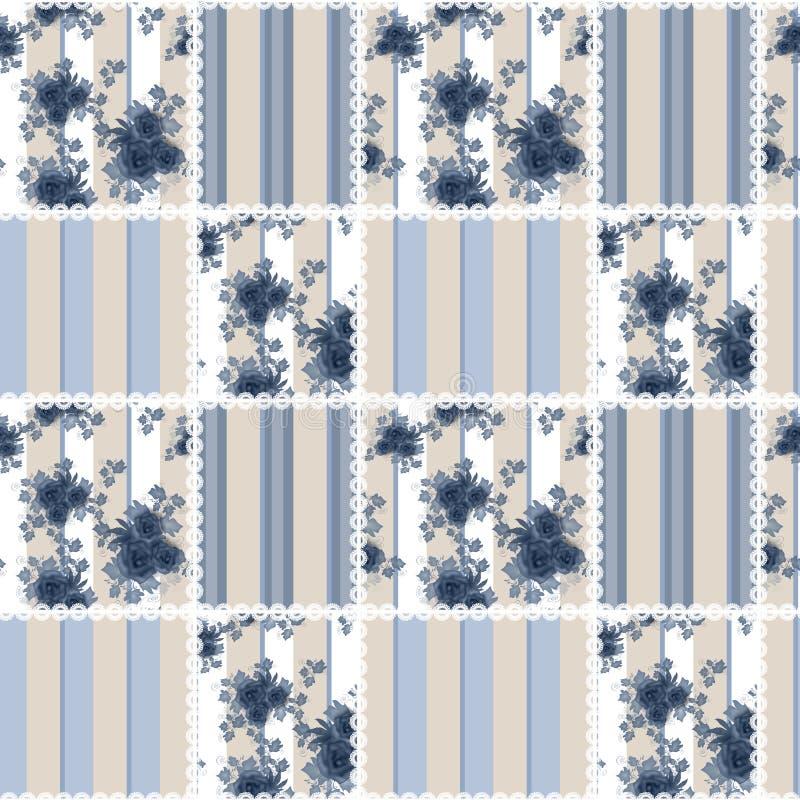 De abstracte naadloze retro textiel van de lapwerk geruite blauwe plaid vector illustratie