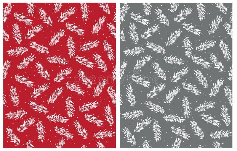 De abstracte Naadloze Vectorpatronen van Kerstboomtakjes Rood, Wit en Gray Design vector illustratie
