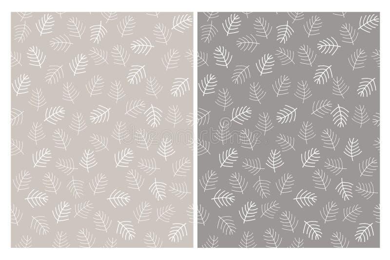 De abstracte Naadloze Vectorpatronen van Kerstboomtakjes Witte en grijze kleuren royalty-vrije illustratie