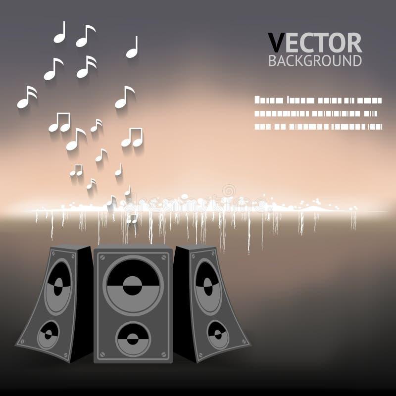 De abstracte Nachtmuziek neemt nota Sprekers Vectorillustratie van Als achtergrond vector illustratie