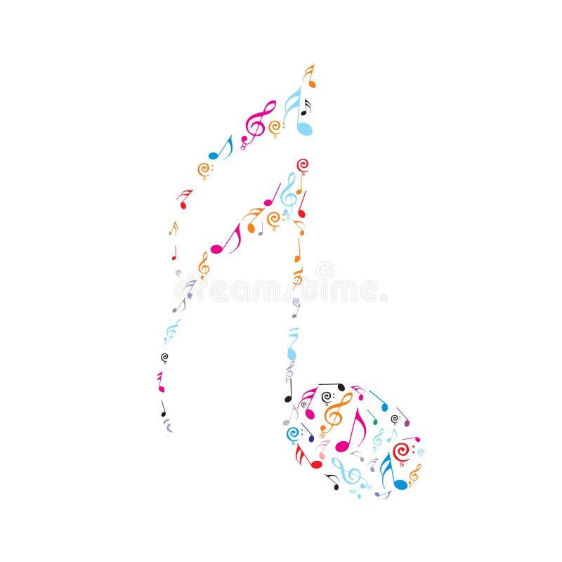 De abstracte nota's van de kleurenmuziek vector illustratie