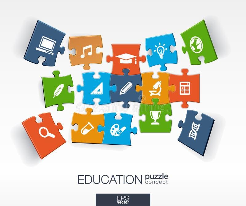 De abstracte onderwijsachtergrond, verbonden kleurenraadsels, integreerde vlakke pictogrammen 3d infographic concept met school,  vector illustratie