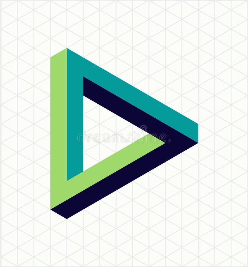 De abstracte onmogelijke vorm van het driehoeksteken vector illustratie