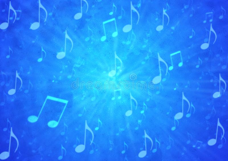De abstracte Ontploffing van Muzieknota's op Onscherpe Blauwe Grunge-Achtergrond stock illustratie