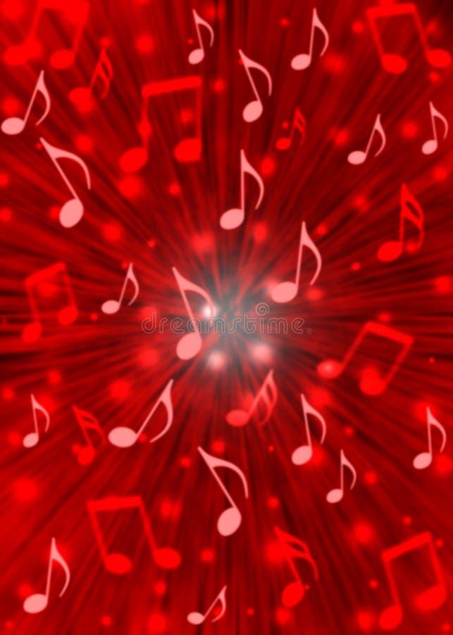 De abstracte Ontploffing van Muzieknota's op Onscherpe Rode Achtergrond vector illustratie