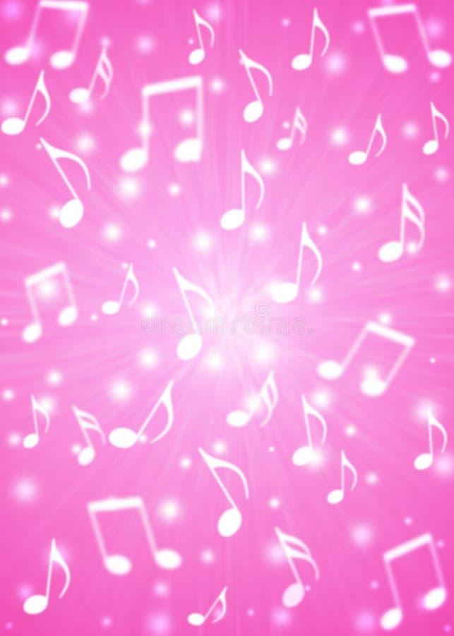 De abstracte Ontploffing van Muzieknota's op Onscherpe Roze Achtergrond stock illustratie