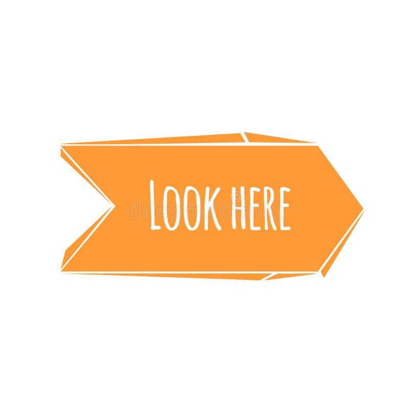 De abstracte oranje gebroken pijl van het beeldverhaal in ontwerp met blik hier proefuitdrukking Vlak stijl modern pictogram royalty-vrije illustratie