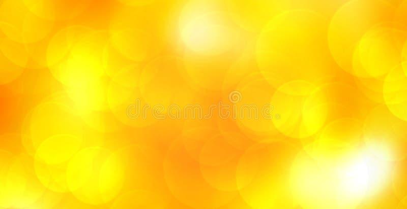 De abstracte panoramische achtergrond van de onduidelijk beeld gloeiende gele kleur met dubbel blootstellings bokeh licht voor ge stock illustratie