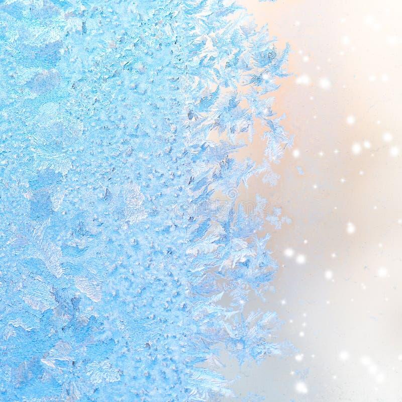 De abstracte patronen van het de winterijs op venster, Kerstmisachtergrond, cl royalty-vrije stock foto