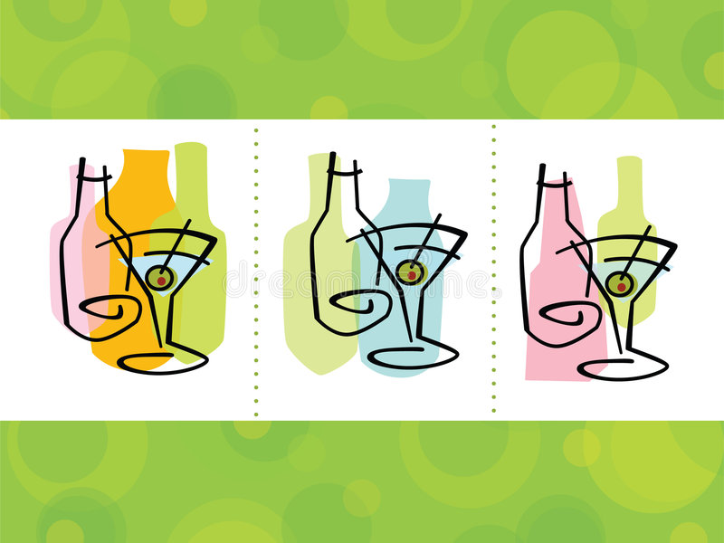 De Abstracte Pictogrammen van de cocktail stock illustratie