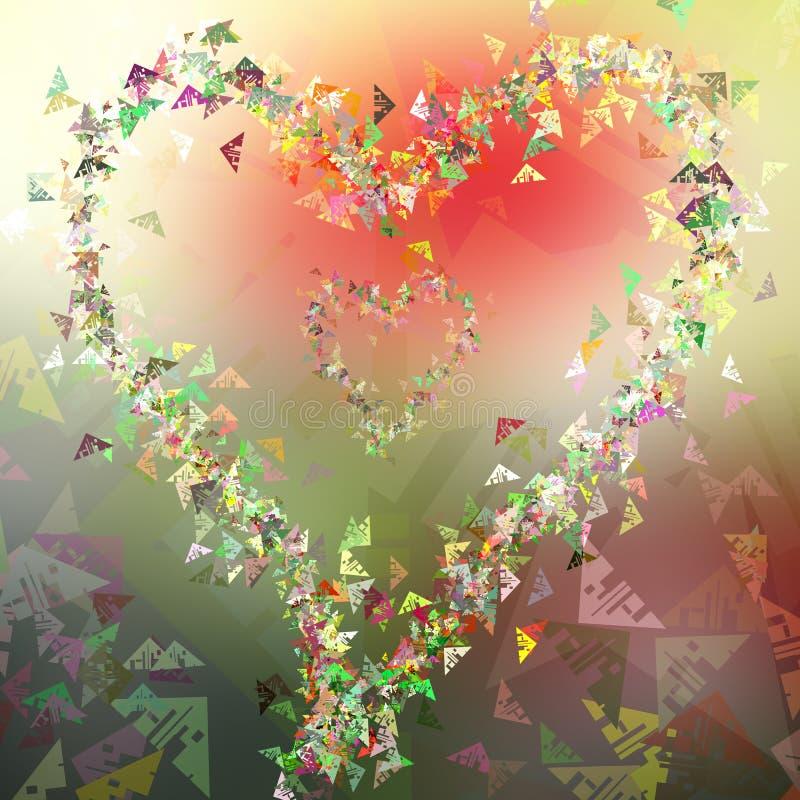 De abstracte prentbriefkaar van hart nieuwe driehoekige vormen, kleurrijke achtergrond stock illustratie