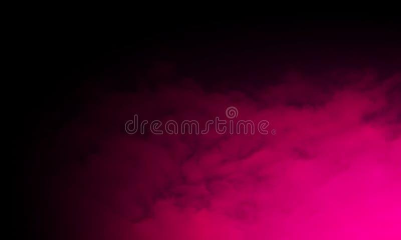 De abstracte purpere mist van de rookmist op een zwarte achtergrond geïsoleerde textuur, stock illustratie