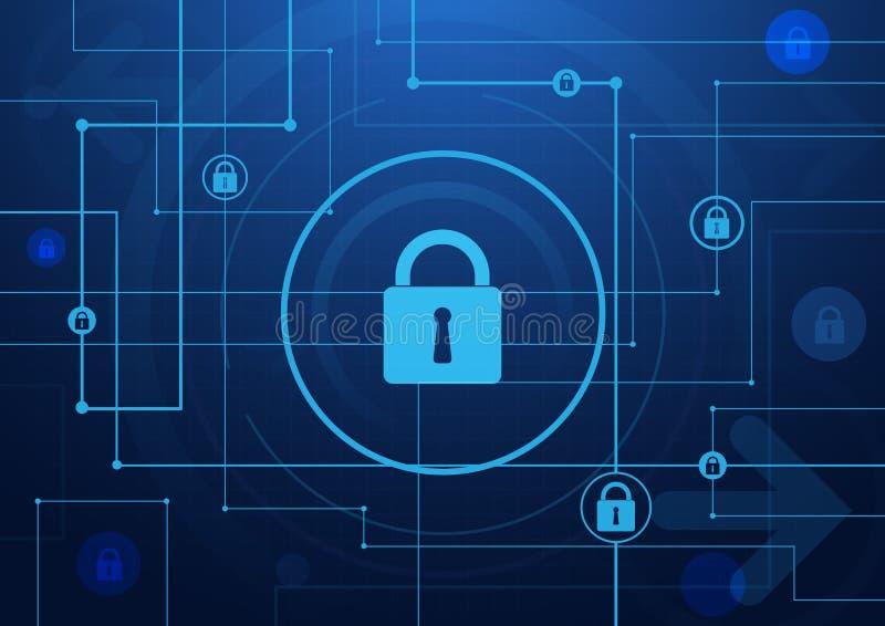 De abstracte raad van de Lijnenkring en veiligheidstechnologie stock illustratie