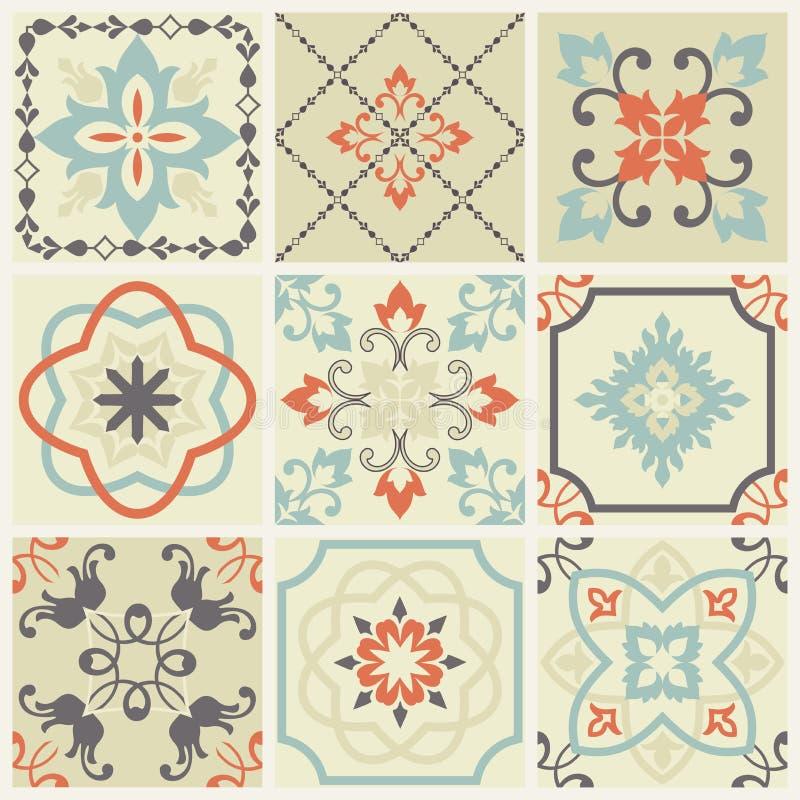 De abstracte reeks van damastpatronen van negen naadloos in retro stijl voor ontwerpgebruik Vector illustratie vector illustratie