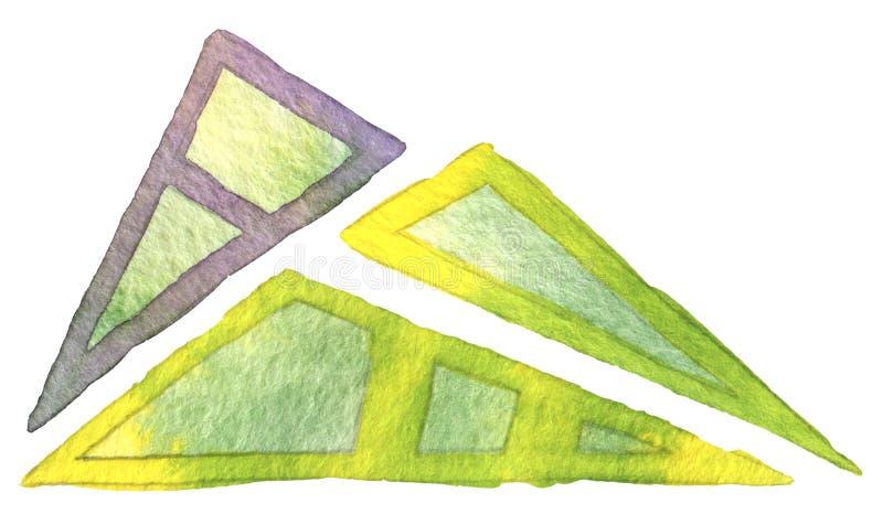 De abstracte reeks van de de handtekening van de driehoekswaterverf Violette contour met gele en groene gradiënt binnen en gele c royalty-vrije stock foto's