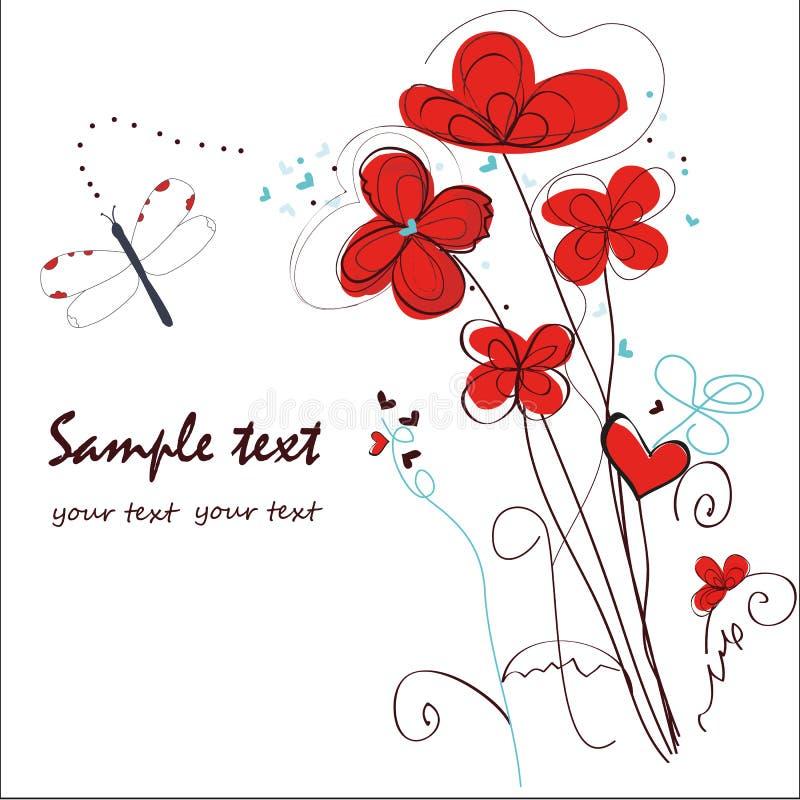 De abstracte rode bloemenkaart van de krabbelgroet stock illustratie