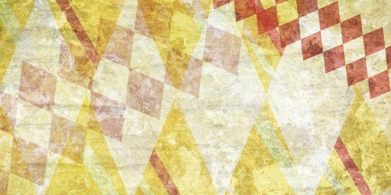 De abstracte rode en gele achtergrond van de grungetextuur met het ontwerp van de diamantcontroleur stock foto