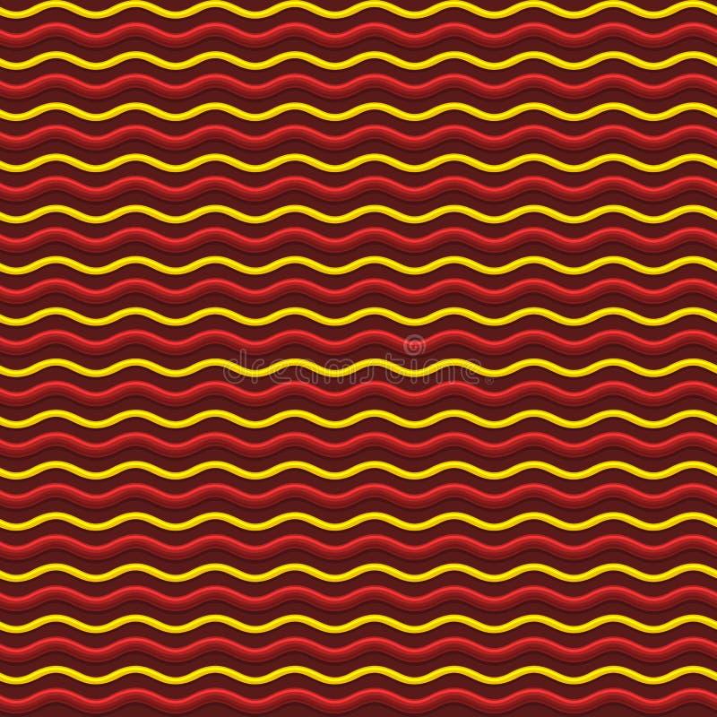De abstracte Rode en Gele Achtergrond van het Golven Naadloze Patroon Vector royalty-vrije illustratie
