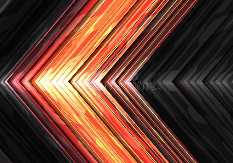 De abstracte rode gele lichte richting van het de gegevenssysteem van de machtspijl op donkere grijze metaalachtergrond v van de  royalty-vrije illustratie