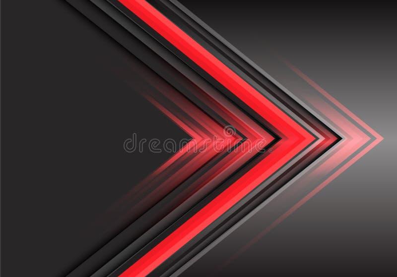 De abstracte rode richting van de pijl lichte macht op grijze ontwerp moderne futuristische vector als achtergrond royalty-vrije illustratie