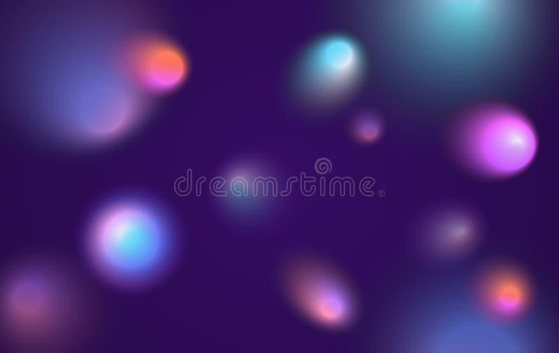 De abstracte ruimtebannerachtergrond met kleurrijke purpere roze blauwe vage cirkelsgradiënt mengde vormen stock illustratie