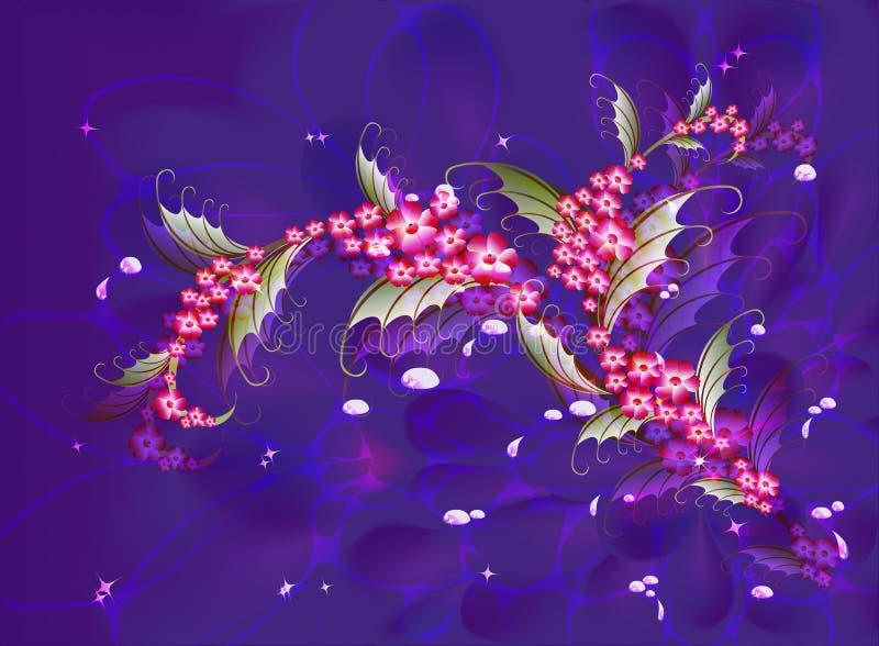 De abstracte samenstelling met tak van Sakura bloeit op een donkerblauwe achtergrond met sterren, fonkelingen en dalingen van dau vector illustratie