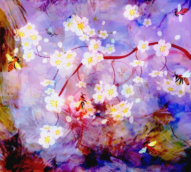 De abstracte scène met tot bloei komende kersentak, bijen op gestreepte grunge hazed hemelachtergrond royalty-vrije illustratie