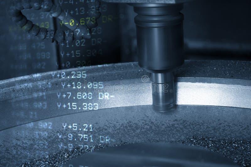 De abstracte scène van CNC malenmachine met 3 assen en de g-Code gegevens royalty-vrije illustratie