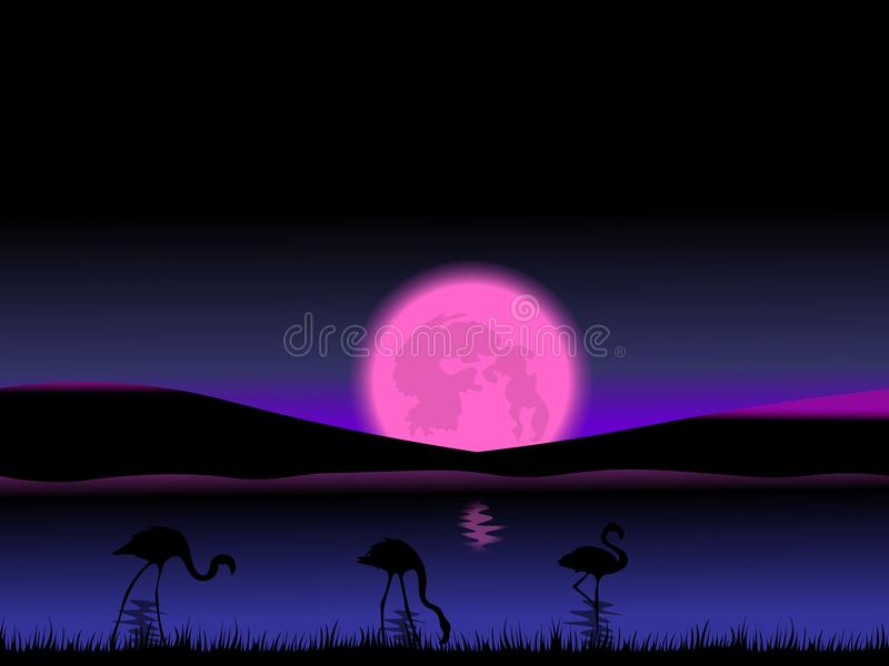 De abstracte scène van de nachtschemer met volle maan en flamingo's royalty-vrije illustratie