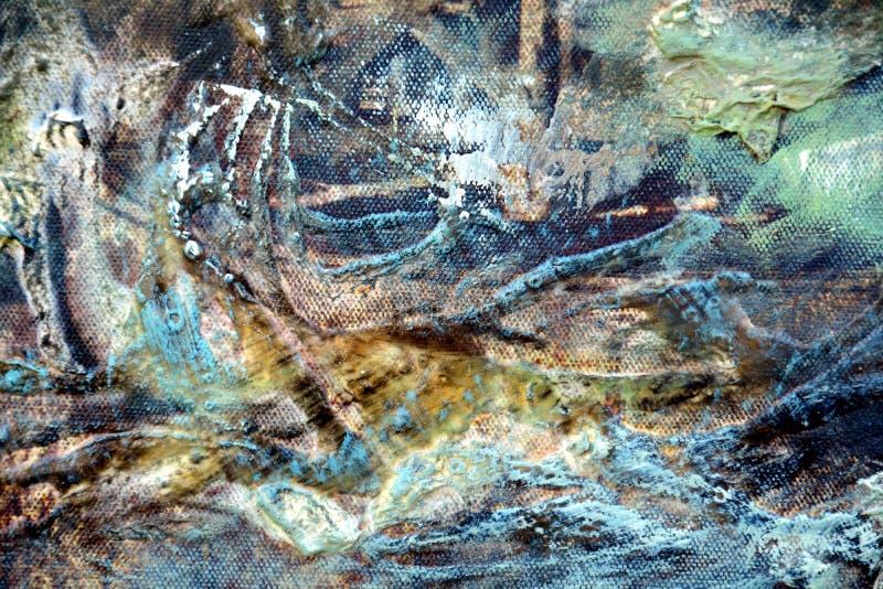 De abstracte slagen van de verf bruine groene witte borstel, organische textiel hypnotic achtergrond royalty-vrije stock foto