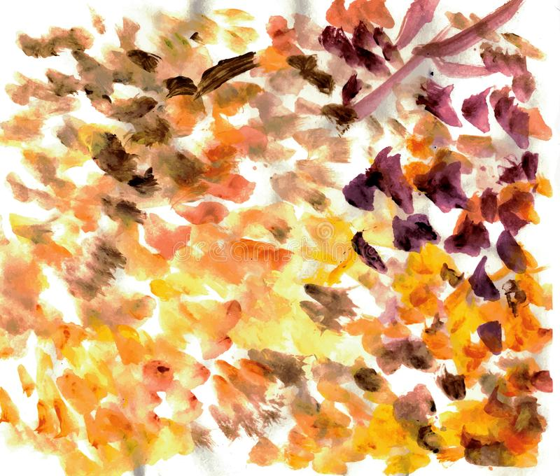 De abstracte slagen van de waterverfborstel Oranje, bruine, purpere kleuren stock illustratie
