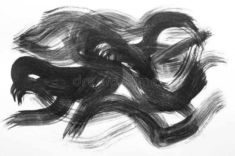 De abstracte slagen van de Waterverfborstel van verf op Witboek backgr royalty-vrije illustratie