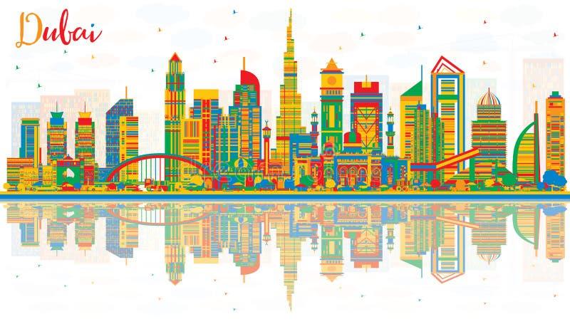 De abstracte de Stadshorizon van Doubai de V.A.E met Kleurengebouwen en denkt na stock illustratie