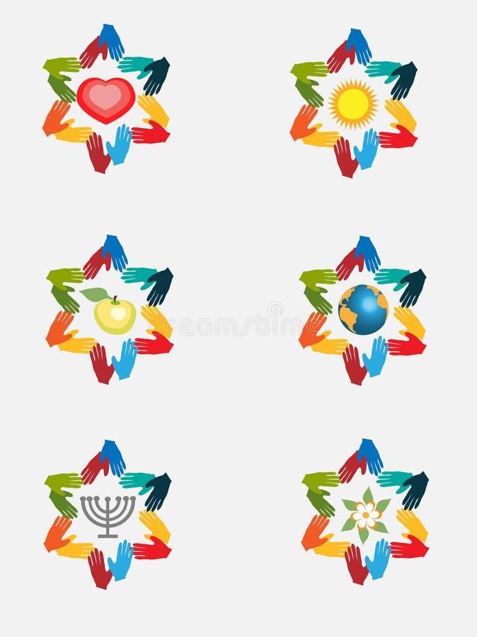 De abstracte ster van David van abstracte handen, Joodse symbolen royalty-vrije illustratie