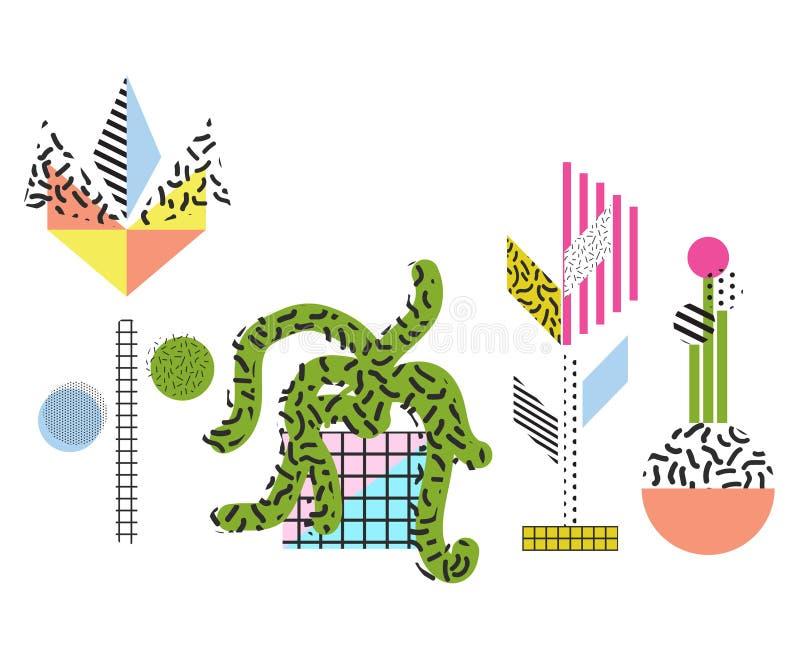 De abstracte stijl van Memphis bloeit en plant vectorillustraties stock illustratie