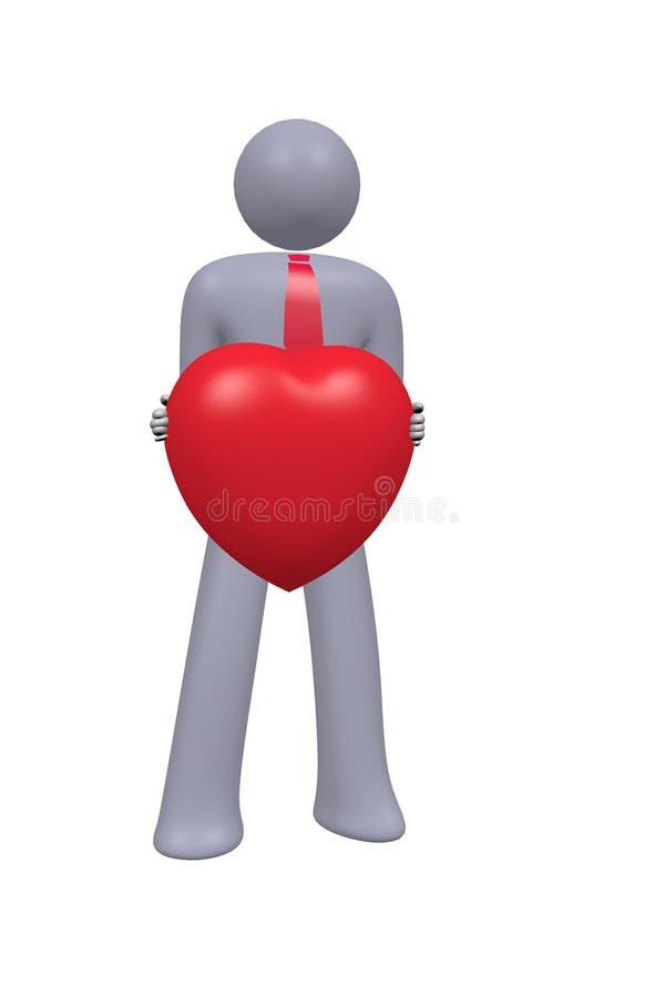 de abstracte stokmens toont 3d hart royalty-vrije stock foto