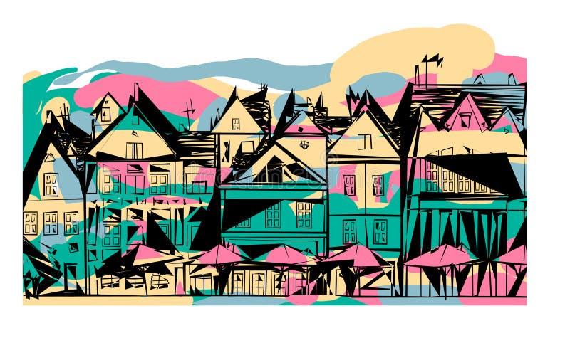 De abstracte straat huisvest Nederlandse paraplu's royalty-vrije illustratie