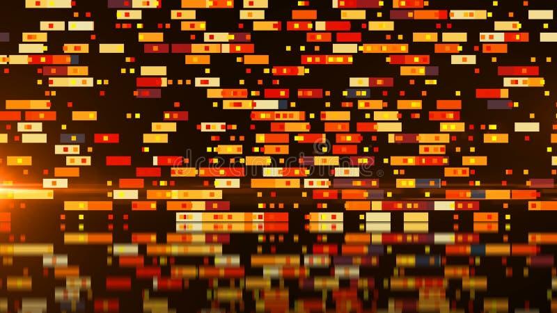 De abstracte technologie met vele rechthoekenachtergrond, oppervlakte met 3d bezinning, geeft achtergrond, computer het producere stock illustratie