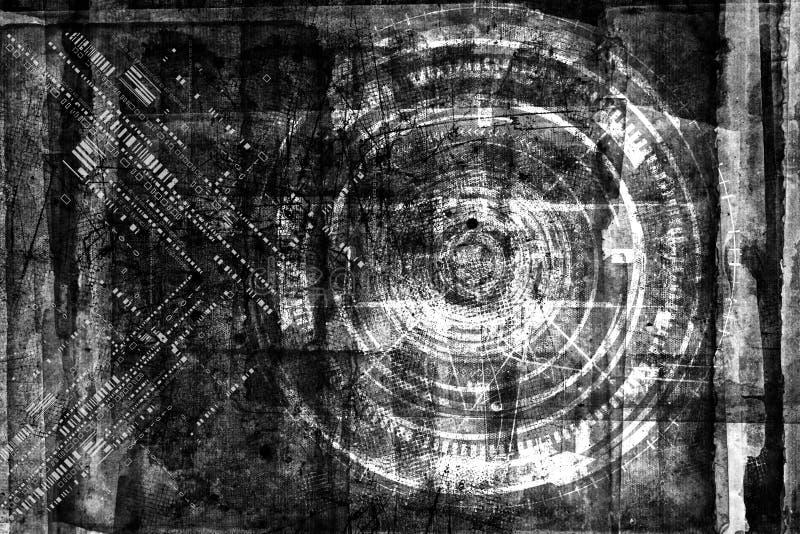 De abstracte technologie van grunge futuristische cyber backgroun Stedelijke cyberpunker designd vector illustratie