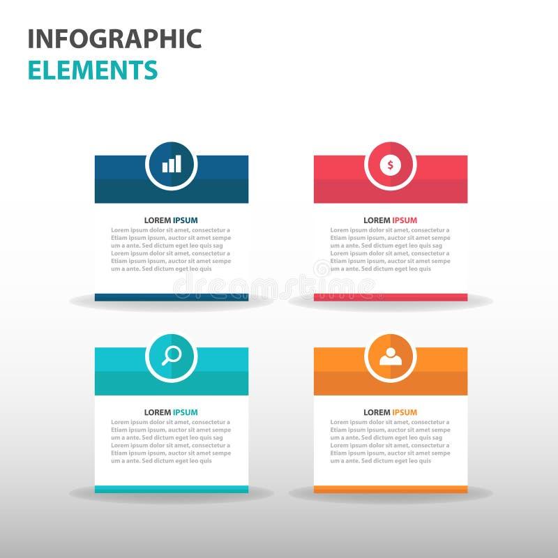De abstracte tekstvakje elementen bedrijfs van Infographics, vlakke het ontwerp vectorillustratie van het presentatiemalplaatje v royalty-vrije illustratie