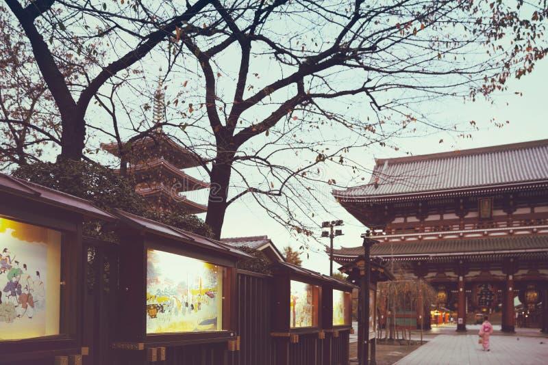 De abstracte tempel achtergrond van Sensouji, Tokyo stock foto