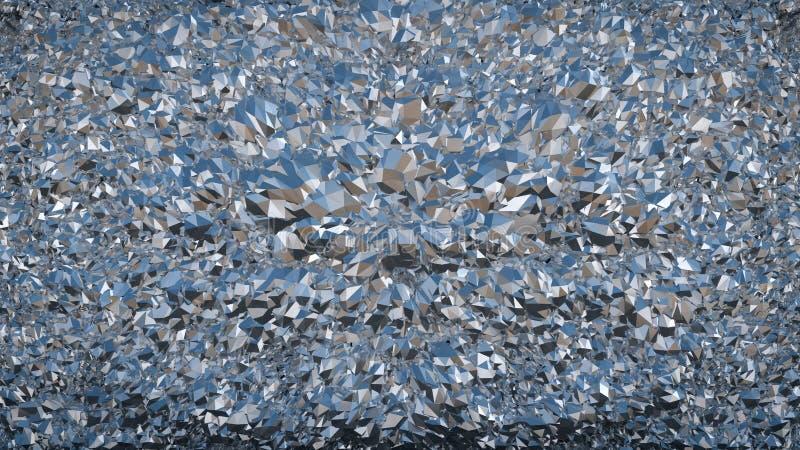 De abstracte textuur van de metaalfolie, achtergrond De glanzende metaal 3D oppervlakte geeft terug vector illustratie
