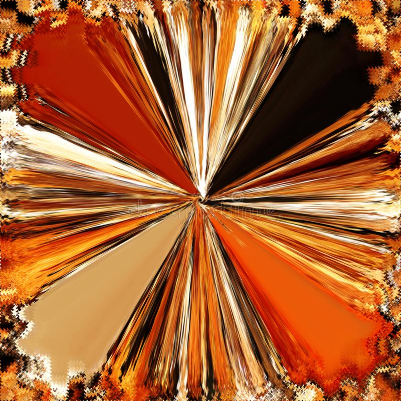 De abstracte trechter gaf radiale achtergrond met glanzende stralen in oranje, gele, witte, zwarte kleuren gestalte vector illustratie