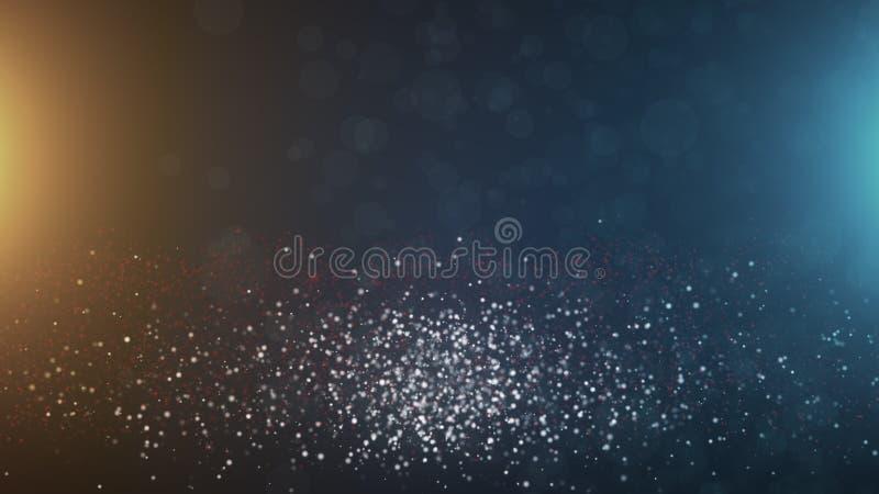 De abstracte uitstekende deeltjes van bokehdeeltjes in ruimte met licht, computer geproduceerde abstracte 3D achtergrond, geven t royalty-vrije illustratie