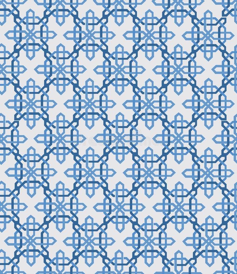 De abstracte uitstekende geometrische naadloze achtergrond van het behangpatroon Vector illustratie Blauwe en witte kleuren vector illustratie
